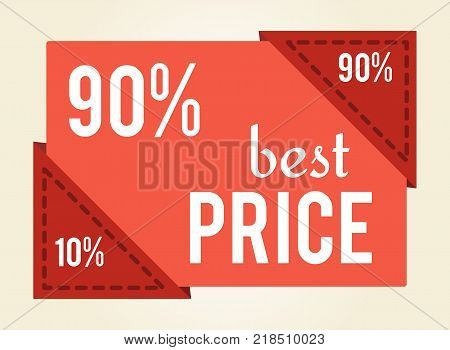 90 off best price sale tag with discount value isolated on white. Vector illustration with red sign of special offer, minimal and total discounts