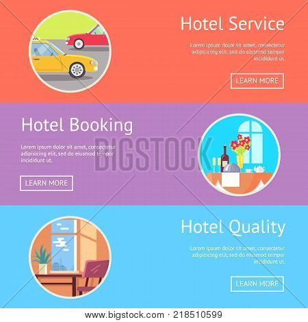 Hotel service, booking and quality web page design with pictures of restaurant table and neat room. Vector illustration with room for text content and buttons