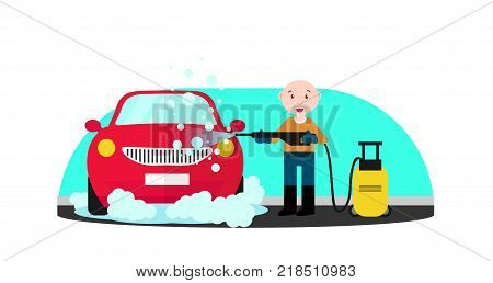 Car wash service. Man in blue and orange uniform washing red car with soap and water. Machine, front view. Man who wash machine. Car wash concept. Flat vector illustration.