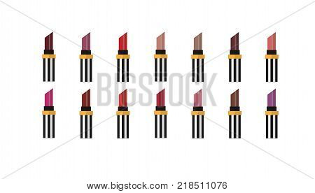 Lipstick set isolated on white background. Big set of lipsticks in different collor. Flat vector illustration. Template for ads or banner in beauty magazine