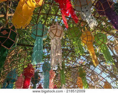 Lantern Festival or Yee Peng Festival in chaing rai Thailand