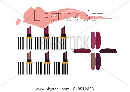 Lipstick set isolated on white background. Big set of lipsticks in different color. Flat vector illustration. Template for ads or banner in beauty magazine. Make up artist objects.