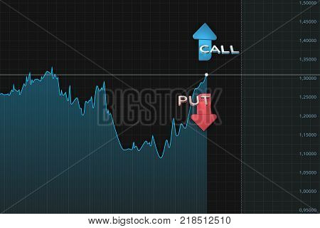 Binary option chart put and call 3D elements arrows with expiration line. Blue and red color arrows on dark background with chart. Stock market info graphics element.