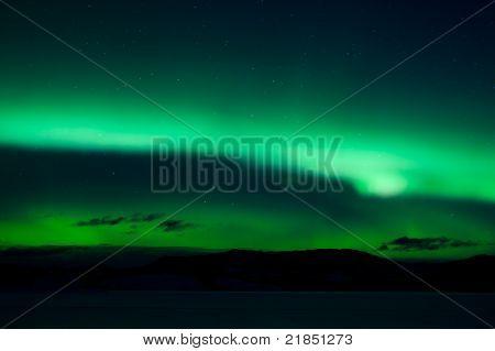 Green northern lights (aurora borealis)