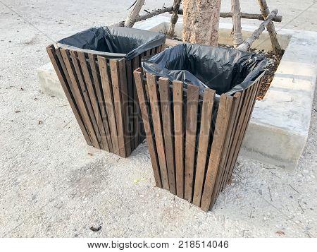 Wooden bin at the park in thailand