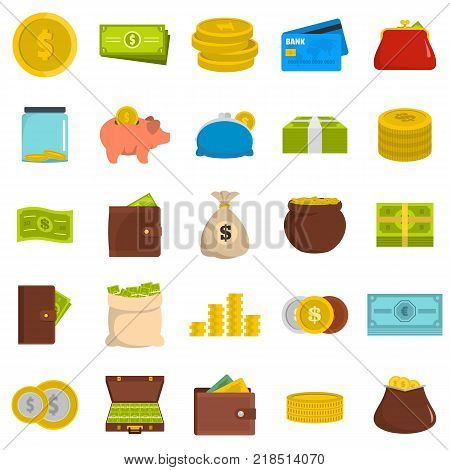 Money icons set. Flat illustration of 25 money vector icons isolated on white background