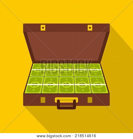 Suitcase money icon. Flat illustration of suitcase money vector icon for web