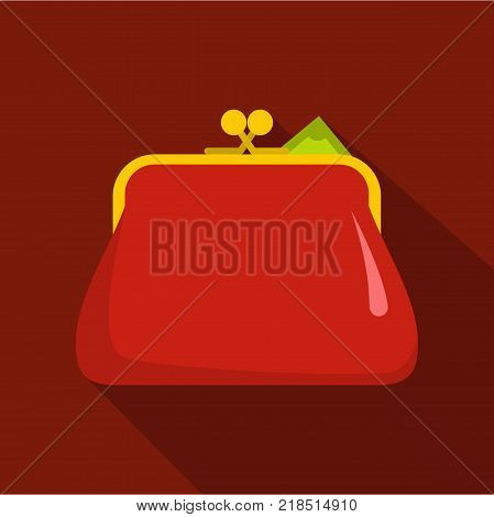 Purse retro icon. Flat illustration of purse retro vector icon for web