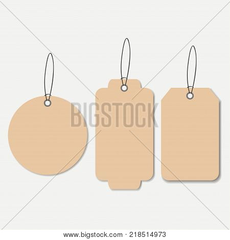 Cardboard tags. Empty hanging label with string. Vector illustration.
