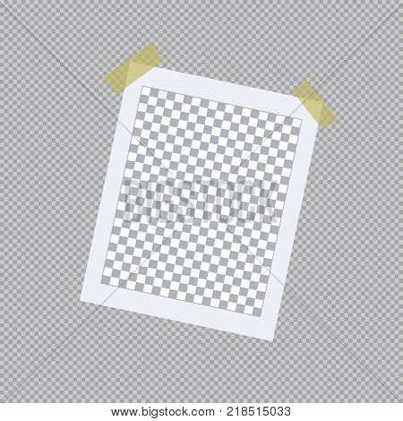 Realistic photo frame on sticky tape. Snapshot on transparent background. Vector illustration.
