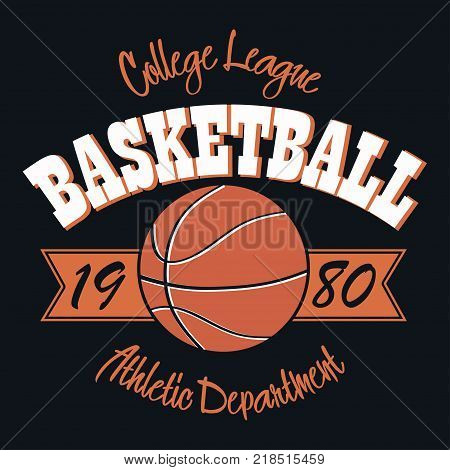 Basketball typography emblem. T-shirt stamp graphics, print for clothes, design for athletic apparel. Vector illustration.