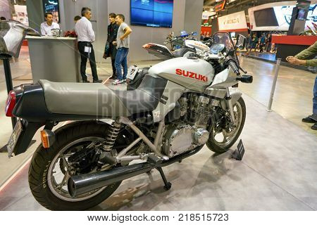 MILAN, ITALY - NOVEMBER 11, 2017: Suzuki motorcycle is displayed at EICMA 2017 - 75th International Motorcycle Exhibition