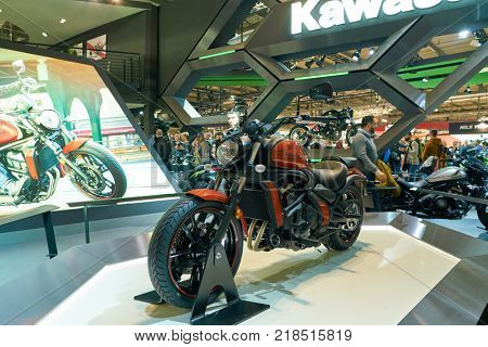 MILAN, ITALY - NOVEMBER 11, 2017: Kawasaki motorcycle is displayed at EICMA 2017 - 75th International Motorcycle Exhibition