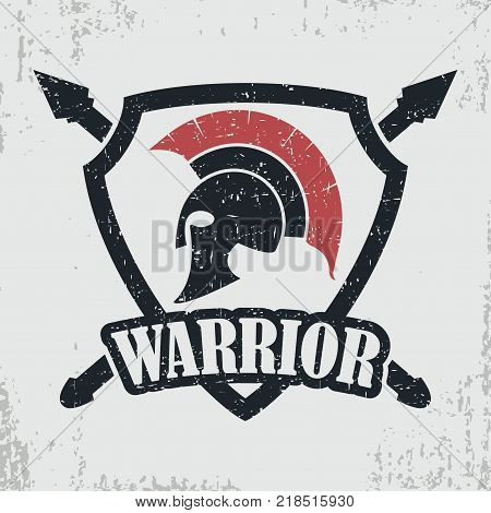 Spartan warrior grunge stamp. Print for t-shirt with Greek or Rome helmet, design of clothes. Vector illustration.