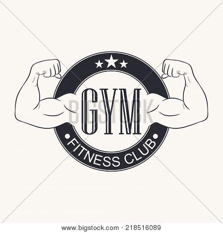 Gym. Gymnasium emblem. Fitness club logo. Typography graphic for t-shirt, design of sportswear apparel. Bodybuilding label. Vector illustration. poster