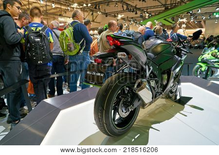 MILAN, ITALY - NOVEMBER 11, 2017: Kawasaki Ninja ZX-10R SE motorcycle is displayed at EICMA 2017 - 75th International Motorcycle Exhibition