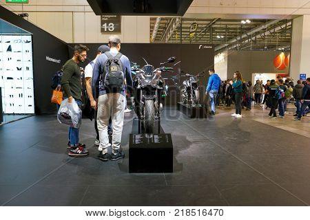 MILAN, ITALY - NOVEMBER 11, 2017: Kawasaki motorcycle is displayed at EICMA 2017 - 75th International Motorcycle Exhibition
