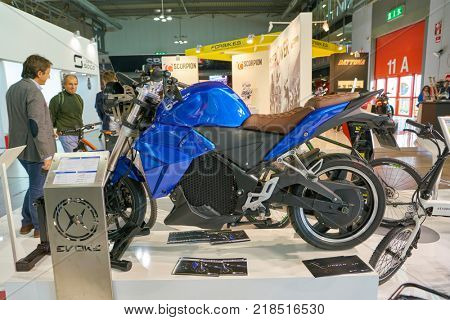 MILAN, ITALY - NOVEMBER 11, 2017: Evoke Motorcycle on display at EICMA 2017 - 75th International Motorcycle Exhibition