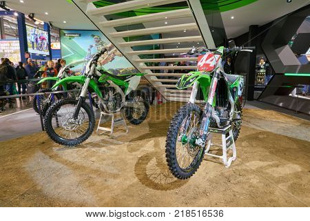 MILAN, ITALY - NOVEMBER 11, 2017: Kawasaki motorcycles on display at EICMA 2017 - 75th International Motorcycle Exhibition