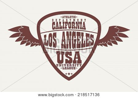 Los Angeles, California athletic apparel logo with wings. Sports t-shirt graphics, university league design clothes in shield form. Vector illustration.