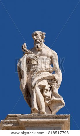 ROME, ITALY - SEPTEMBER 02:  St. Jerome, fragment of colonnade of St. Peters Basilica. Papal Basilica of St. Peter in Vatican, Rome, Italy on September 02, 2016.