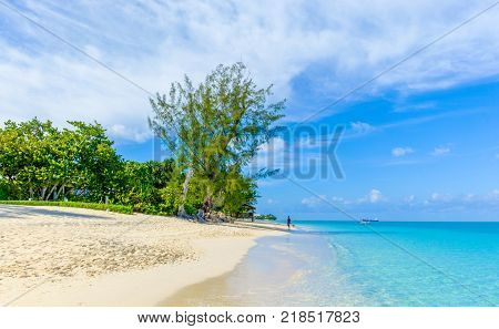 Seven Mile Beach by the Caribbean sea, Grand Cayman, Cayman Islands, May 2017