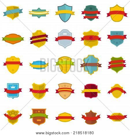 Shield badge icons set. Flat illustration of 25 shield badge vector icons isolated on white background