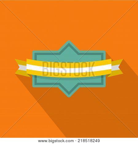 Badge ribbon icon. Flat illustration of badge ribbon vector icon for web