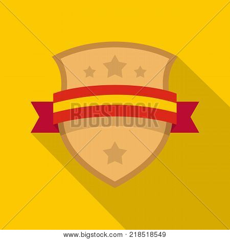 Badge knight icon. Flat illustration of badge knight vector icon for web