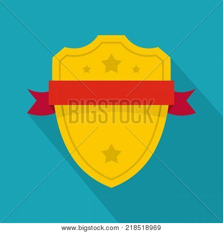 Badge warrior icon. Flat illustration of badge warrior vector icon for web