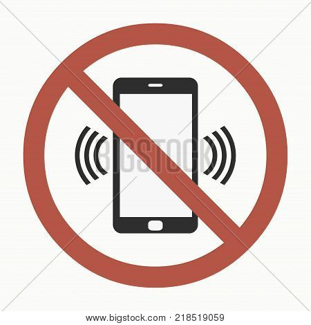No cell phone sign. Smartphone in a crossed out red circle. Vector illustration.