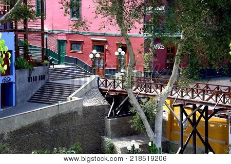 Lima, Peru February 2017 View of the Bridge of Sighs in Barranco a district in the south of the city