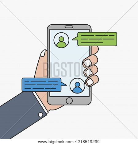 Mobile phone chat message. Hand with smartphone and chatting bubble, sms. Vector illustration.