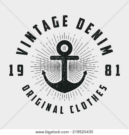 Vintage denim print for t-shirt, original clothes design with anchor and line sunburst. Retro hipster style logo for apparel. Vector illustration.