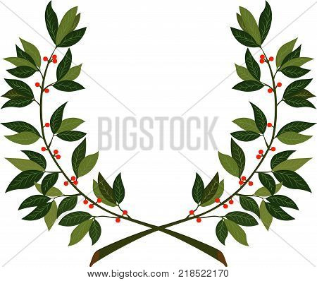 Laurel wreath - symbol of victory and achievement. Design element for construction of medals awards coat of arms or anniversary logo. Vector illustration