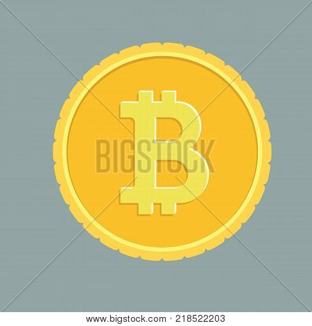 Golden coin with bitcoin sign. Cryptography currency concept. Flat and solid color vector illustration.