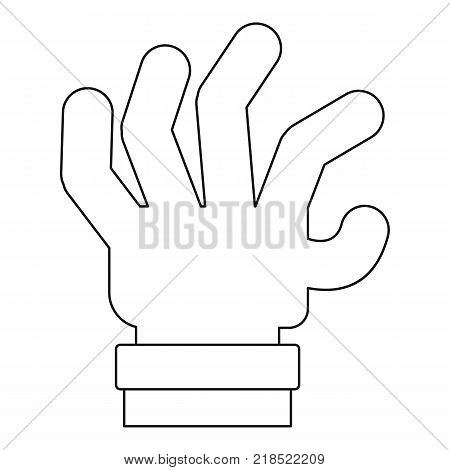 Spread palm icon. Outline illustration of spread palm vector icon for web
