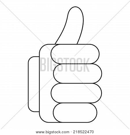 Thumb up icon. Outline illustration of thumb up vector icon for web
