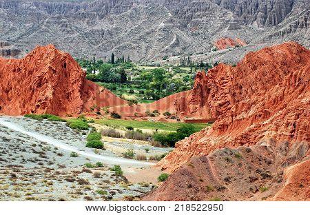 Landscape in Pumamarca in the Jujuy region, Argentina