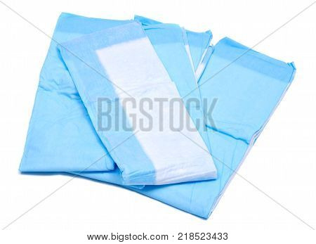 Medium size blue under pads for adults isolated on white background