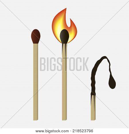 Match set - unused, burning and burned matchsticks. Isolated on white background. Vector illustration.