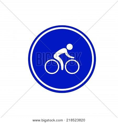 Bicycle lane sign. Sign bicycle path icon in blue circle. Rules of the road traffic symbol.