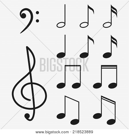 Music notes icon set and musical key. Treble clef sign. Vector illustration.