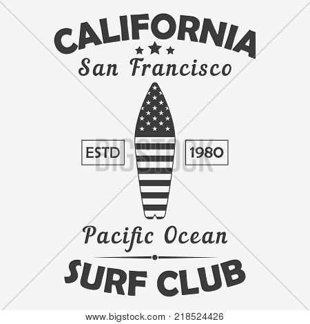 California, San Francisco typography for design clothes, t-shirt. Pacific Ocean surf club graphics. Print for sport apparel with surfboard with American flag. Vector illustration.