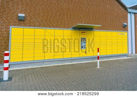 WETZLAR GERMANY JUNE 2017 DEUTSCHE POST cargo terminal and logo Germany. Deutsche Post AG is a German courier company and the world's largest.
