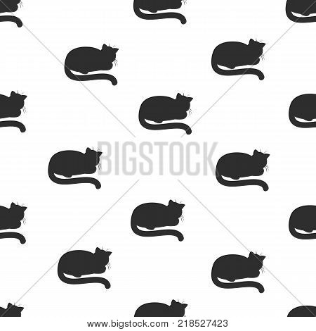 Seamless pattern with lying sleeping cats hand drawing. Vector illustration in black and white background. The theme of cats.