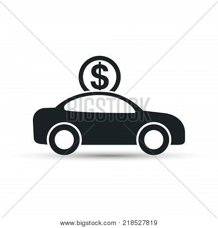 Car with coin icon vector. Buying car button in flat style. Save money for buying vehicle.