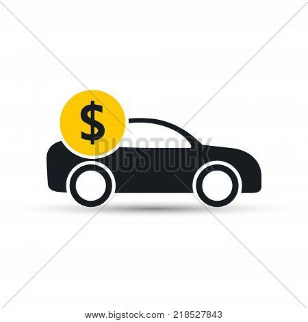 Car with coin icon vector. Buying car button in flat style. Save money for buying car.