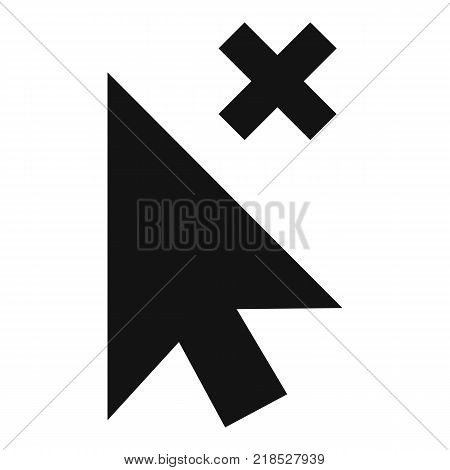 Cursor close element icon. Simple illustration of cursor close element vector icon for web