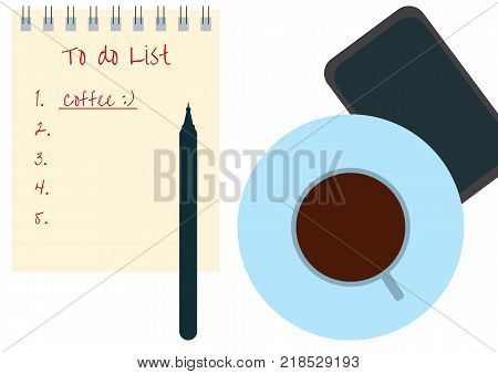 Vector illustration of Procrastination concept. A cup of black coffee notebook with the plan mobil phone and a pen. Time to drink coffee and start working